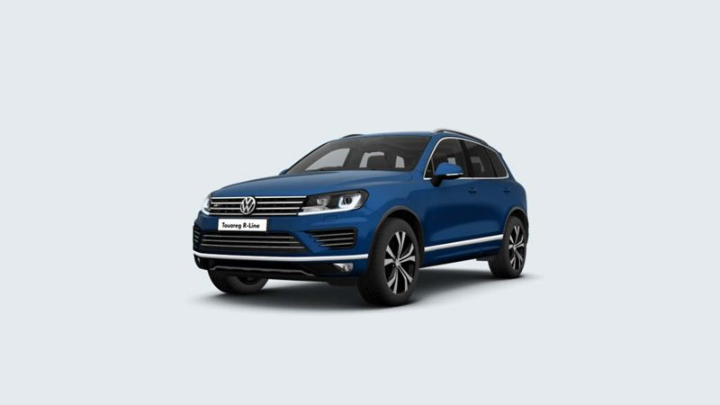 3/4 front view of a blue Volkswagen Touareg.