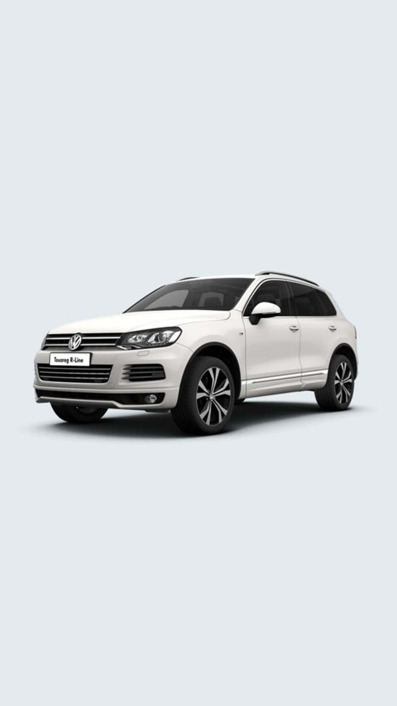 3/4 front view of a white Volkswagen Touareg R-Line.