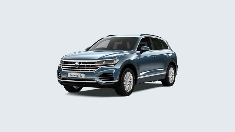 3/4 front view of a metallic blue Volkswagen Touareg.