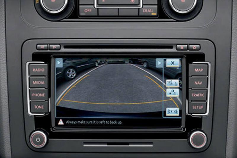 In built exterior camera screen, showing inside a Volkswagen.
