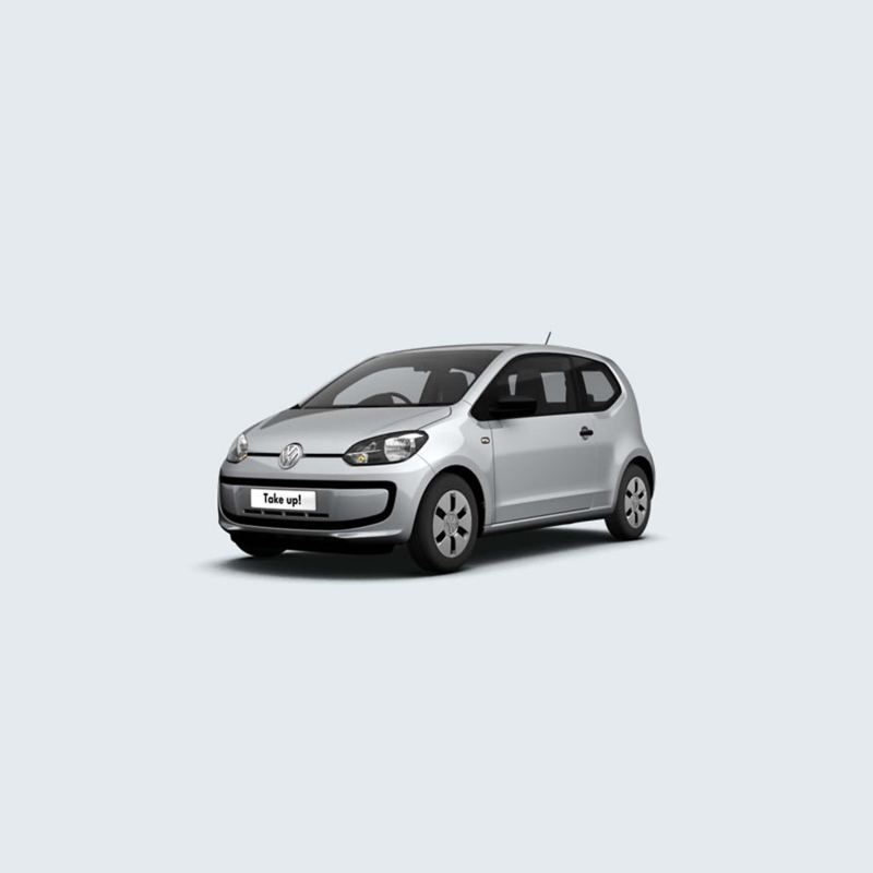 3/4 front view of a white Volkswagen up!.