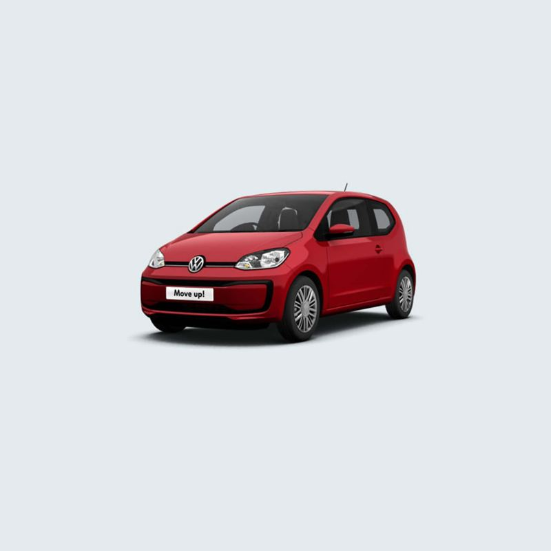 3/4 front view of a red Volkswagen up!