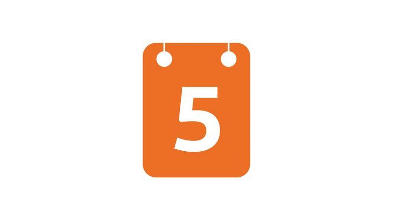 5-day insurance calendar icon
