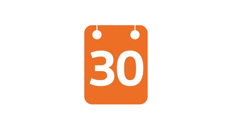 Calendar icon showing number 30