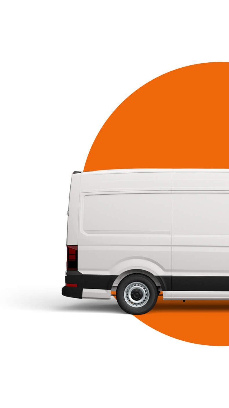 Used Transporter panel van highline in Chestnut Brown on a light blue background