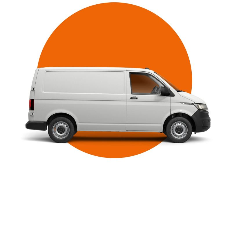 Transporter panel van overlaid on an orange circle