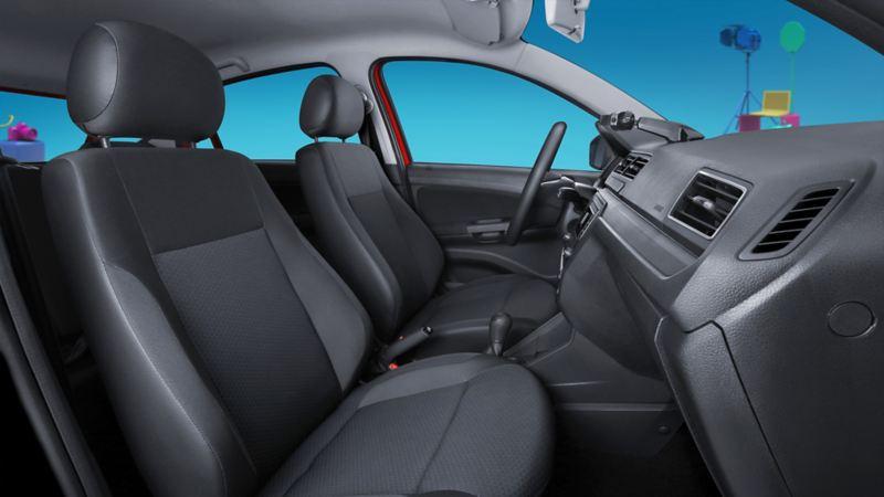 Vista lateral del interior de Gol de Volkswagen