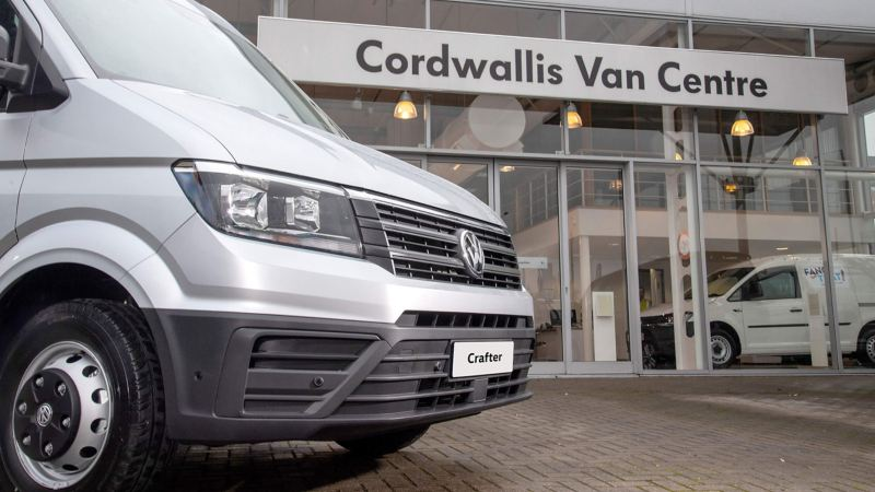 A Crafter van parked outside of a Cordwallis Van Centre
