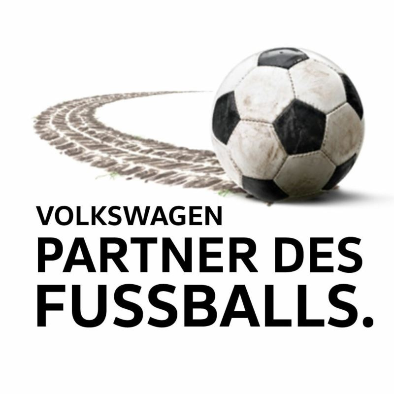 """Illustration of a football with the lettering """"Volkswagen Friend of Football""""."""