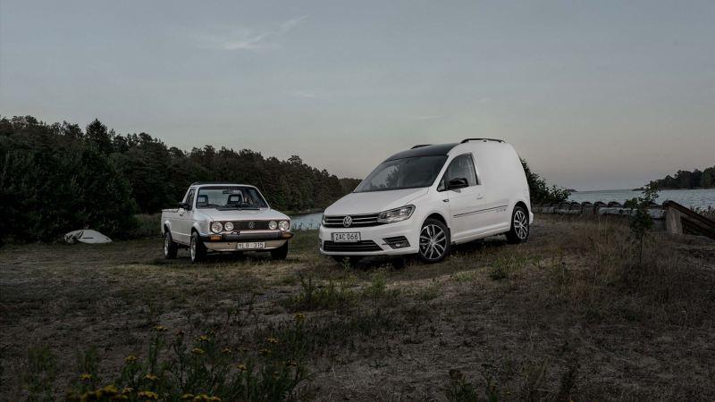 En gammal Caddy och en ny Caddy Edition 35