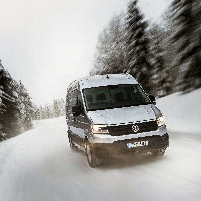 Volkswagen Crafter 4MOTION på vintervägar