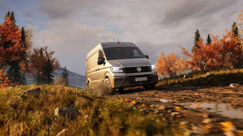Volkswagen Crafter, lätt lastbil, på höstväg