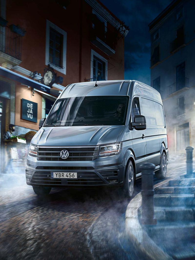 VW Crafter lätt lastbil i stadsmiljö
