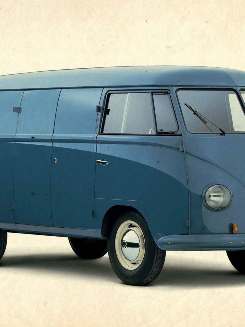 Blå Volkswagen Folkabuss T1