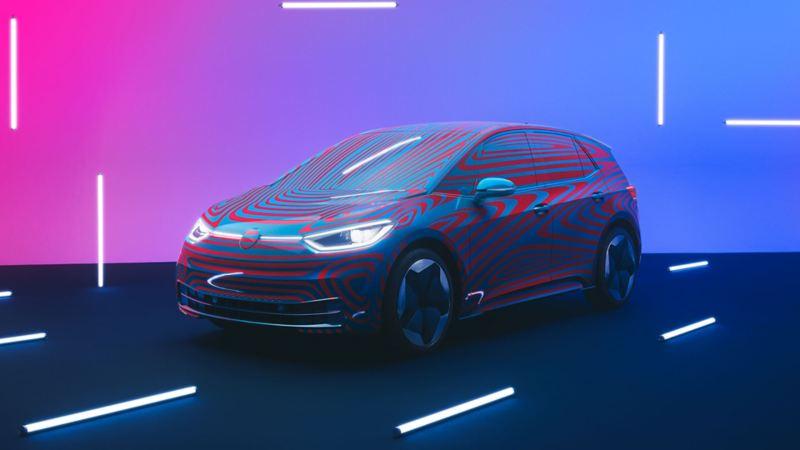 Volkswagen ID.3 1ST i studio sett skrått forfra