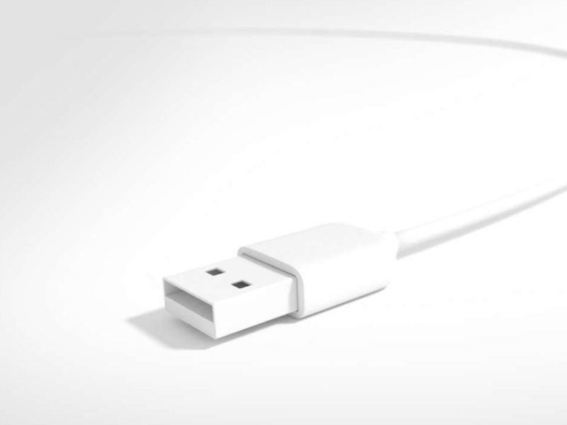 Um cabo USB branco.