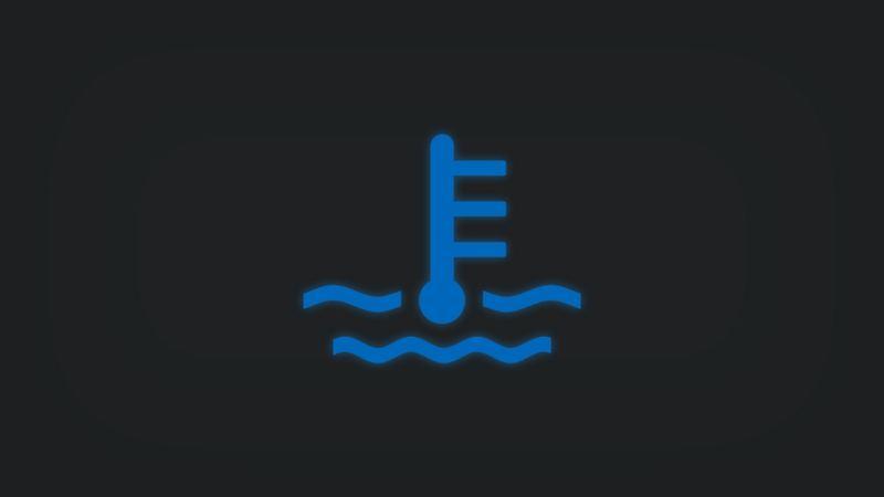 Kontrollleuchte mit Kühlmittelstand leuchtet blau