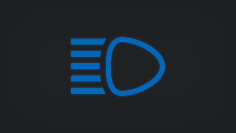 Kontrollleuchte mit Scheinwerfer leuchtet blau