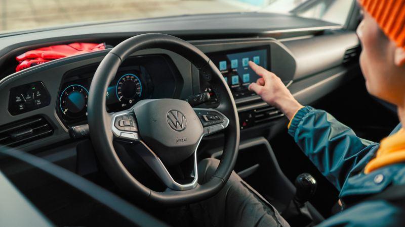 Das Interieur des neuen Volkswagen Caddy Cargo.