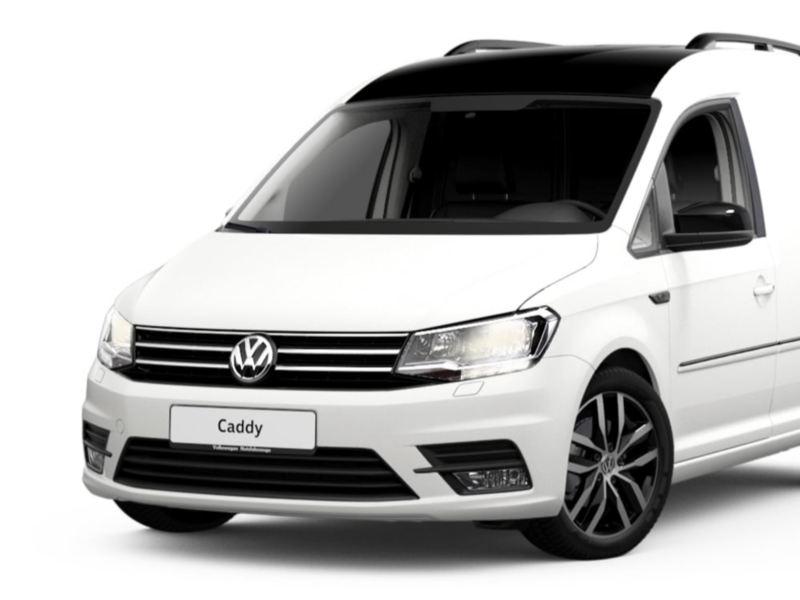 Widok na Volkswagen Caddy Furgon Edition 35 z odważnym czarno-białym designem.