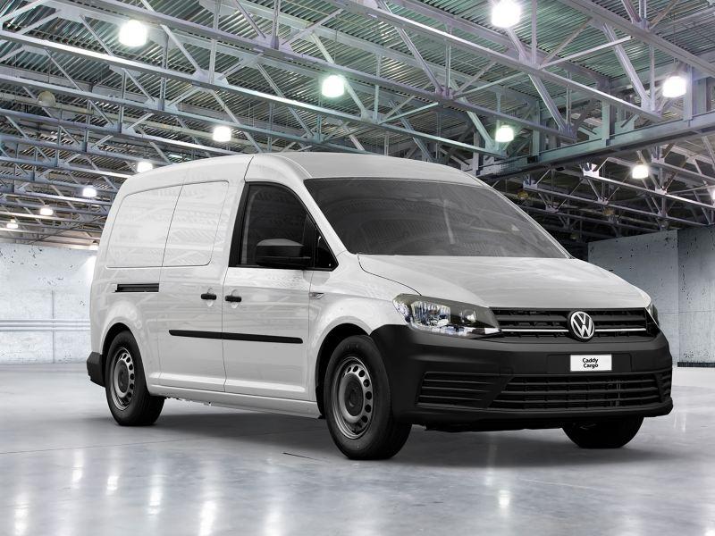 Caddy, camioneta de carga para negocio de Volkswagen con espacio amplio para pasajeros en color blanco.