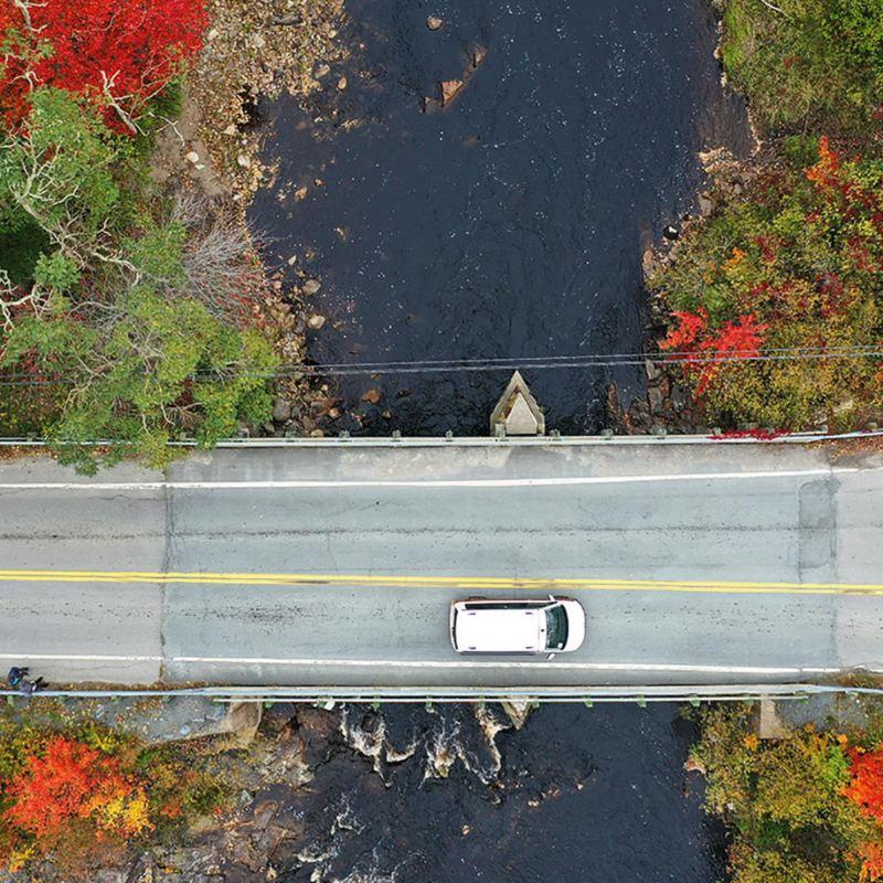 Flygvy över Volkswagen California i ett höstigt Nova Scotia