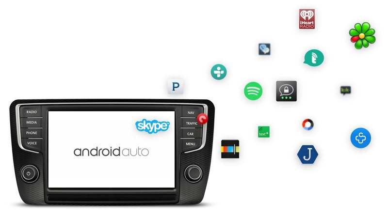 Aplicação Android Auto é compatível com os sistemas da Volkswagen.