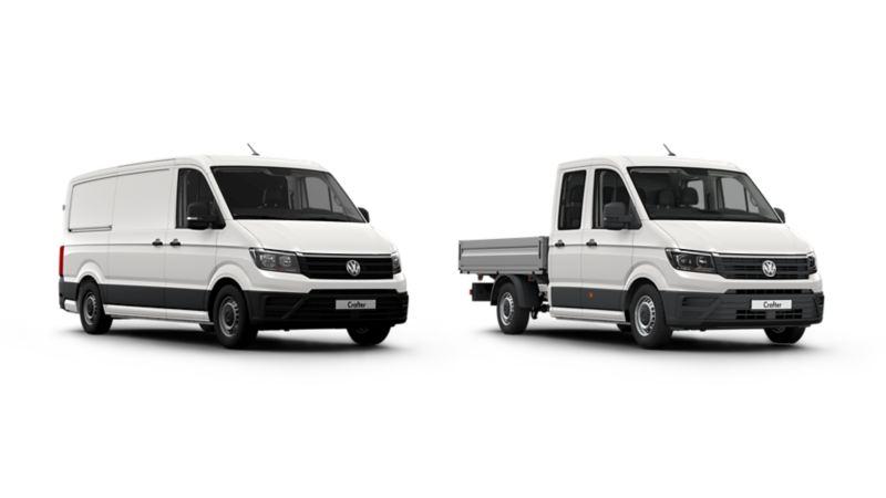Crafter bestelwagen pick-up wit 3/4 witte achtergrond