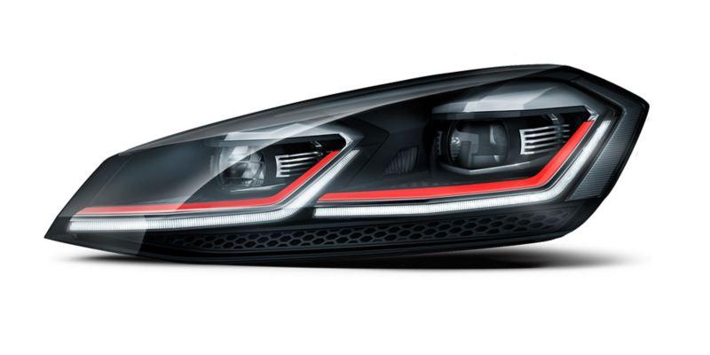 Faros LED del nuevo auto deportivo Golf GTI 2020 de Volkswagen