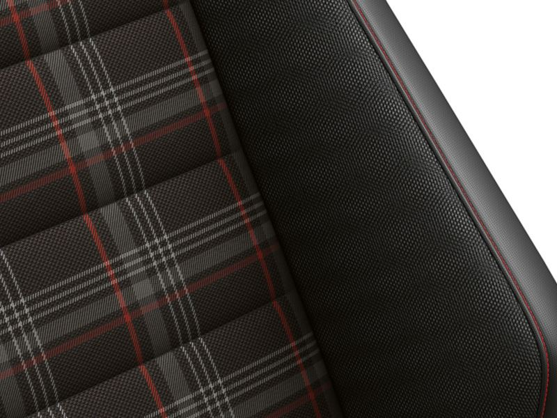 Checked pattern seat cover in the VW Golf GTI