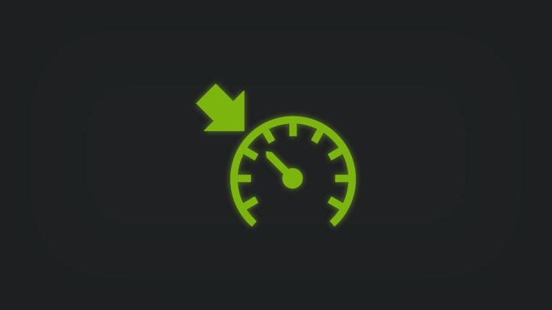 Kontrollleuchte mit Tachometer und Pfeil leuchtet grün