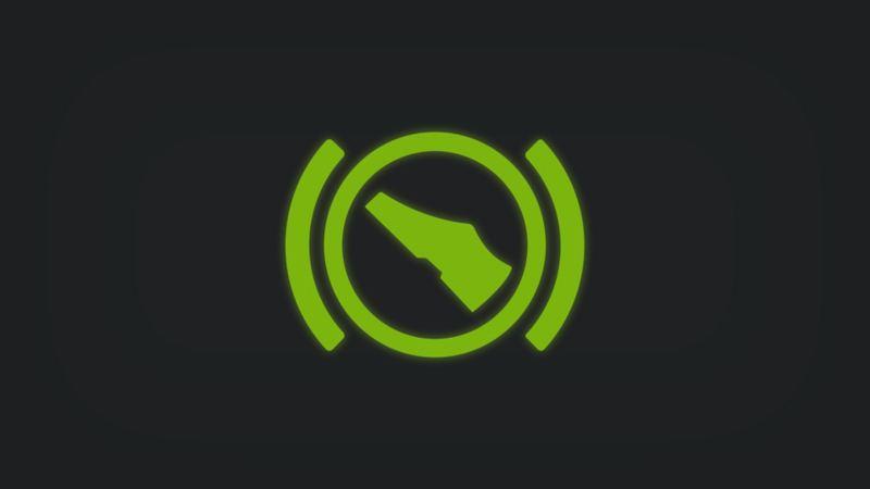 Kontrollleuchte mit Fuß in Bremsposition leuchtet grün