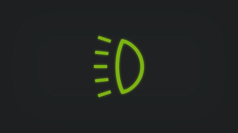 Kontrollleuchte mit Scheinwerfer leuchtet grün