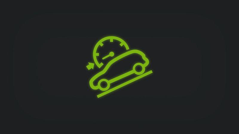 Kontrollleuchte mit Fahrzeug in Schräglage und Tachometer mit Pfeil leuchtet grün