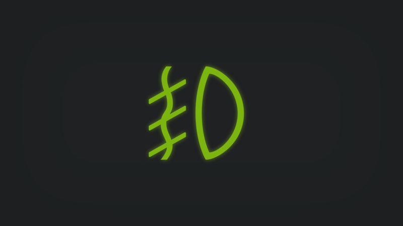 Kontrollleuchte mit Nebelscheinwerfer leuchtet grün