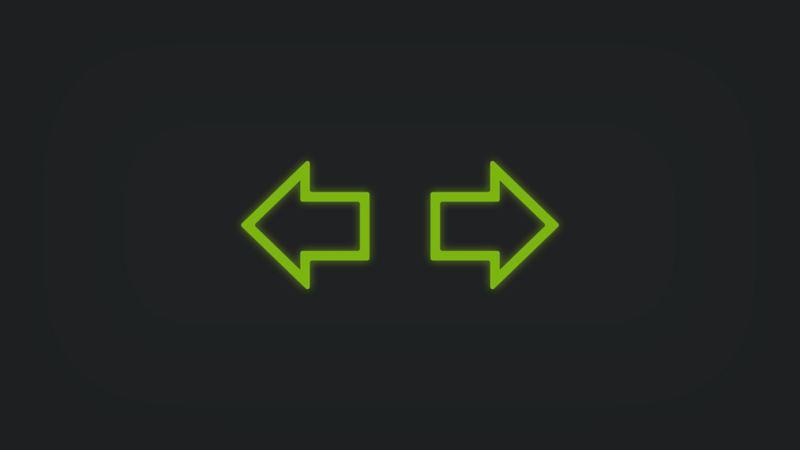 Kontrollleuchte mit Pfeil links und Pfeil rechts leuchtet grün