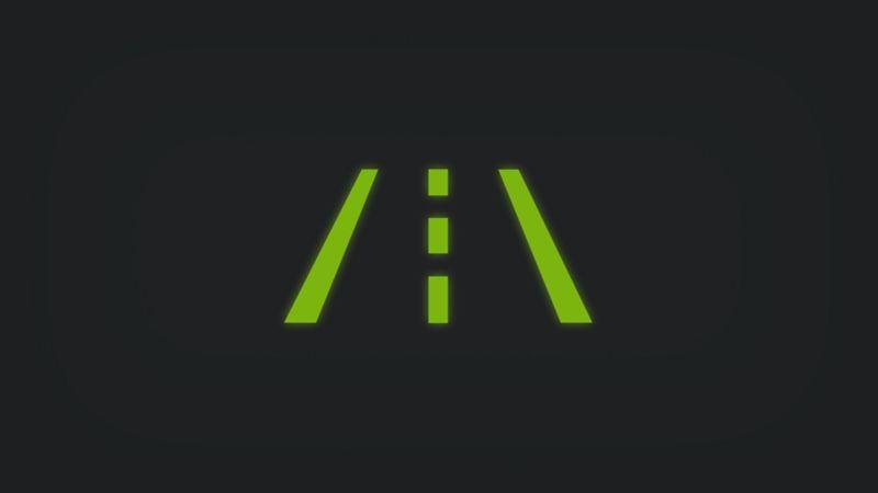 Kontrollleuchte mit zweispuriger Straße leuchtet grün