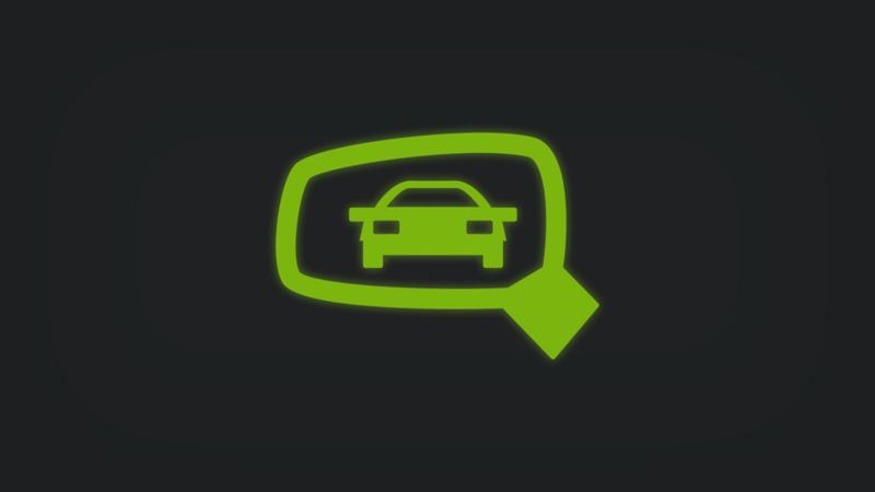 Kontrollleuchte mit Fahrzeug in Seitenspiegel leuchtet grün