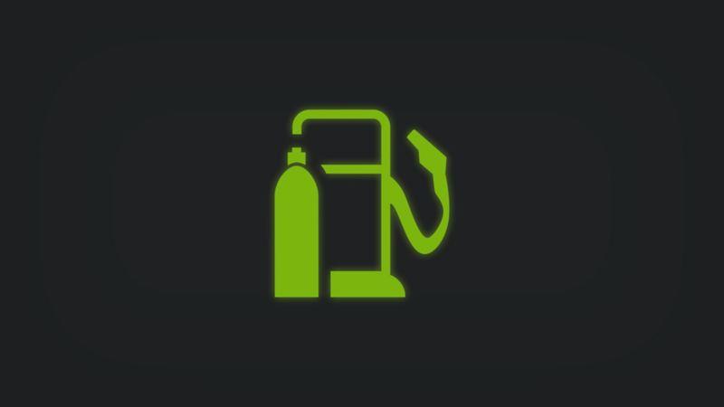 Kontrollleuchte mit Zapfsäule und Gasflasche leuchtet grün