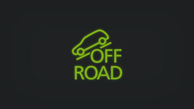Kontrollleuchte mit schräg stehendem Fahrzeug und Schriftzug OFF ROAD leuchtet grün