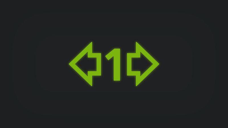 Kontrollleuchte mit Pfeil links, Pfeil rechts und Zahl Eins leuchtet grün