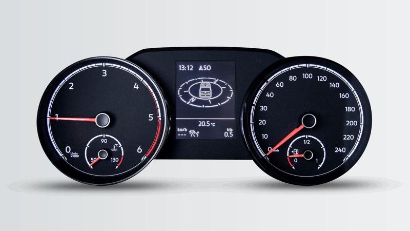 Ένα ταχύμετρο στην μπροστινή όψη του Volkswagen transporter