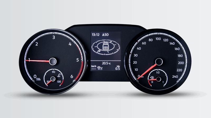 A speedometer in the front view.