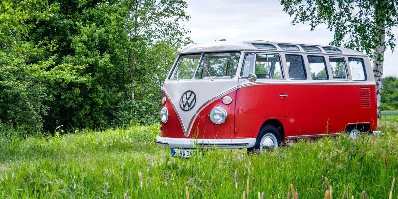 Der restaurierte Volkswagen T1 schräg von vorne auf einer Wiese.