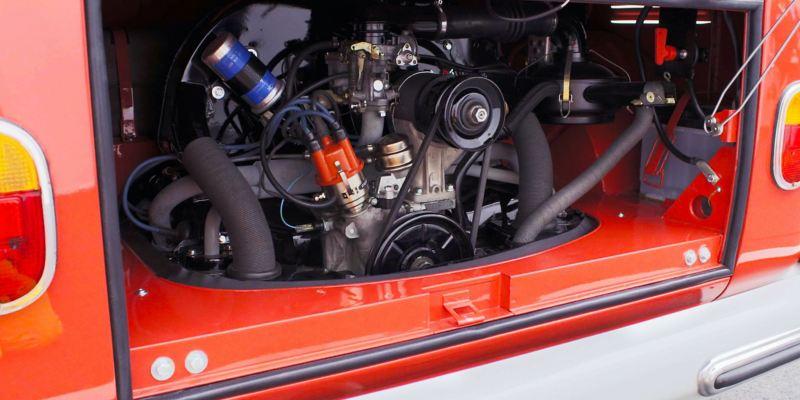 Der Motor des restaurierten Volkswagen T1.