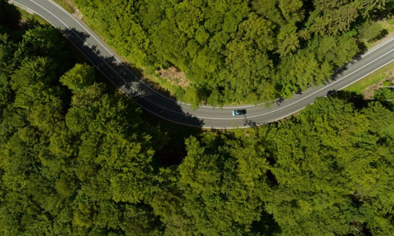 Aerial view: Car driving on a road through a forest.