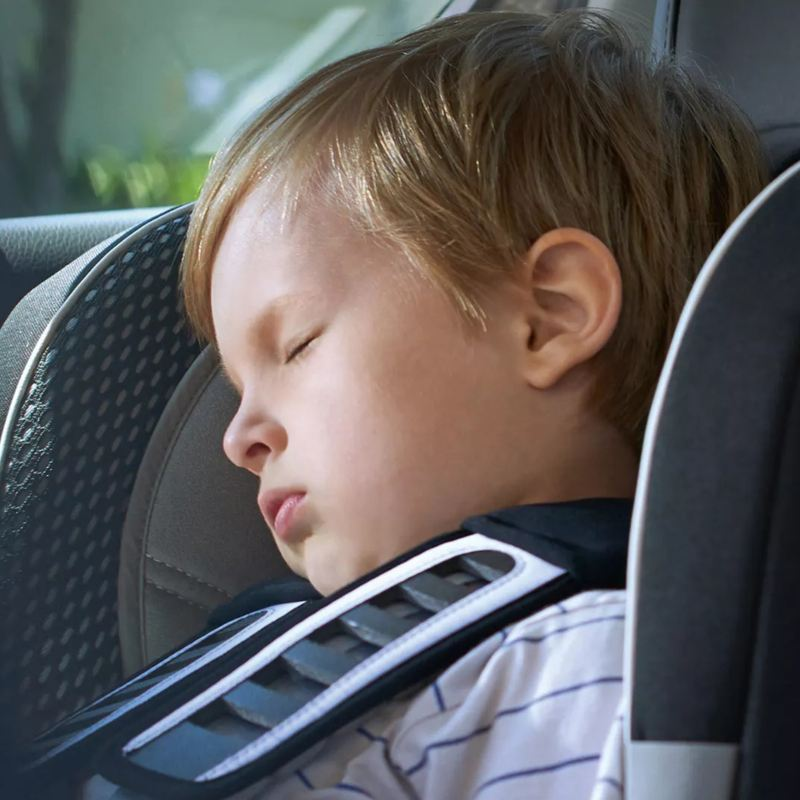 "A baby is sleeping in a VW car, link out to VW's ""volkswagen protection plus"" page"