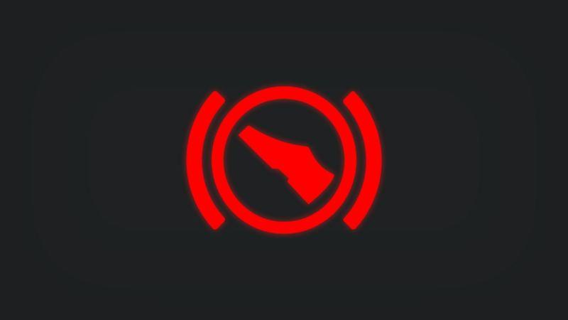 Kontrollleuchte mit Fuß in Bremsposition leuchtet rot