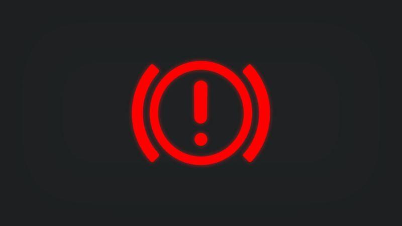 Kontrollleuchte mit Ausrufezeichen leuchtet rot