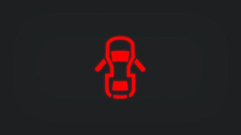 Kontrollleuchte mit zwei offenen Fahrzeugtüren leuchtet rot